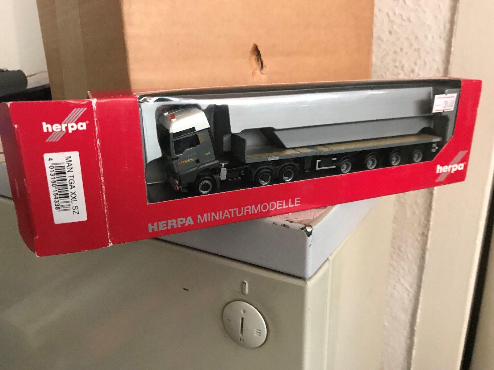 1 87 Herpa 154338 MAN TGA XXL Semi-remorque  friderici  NEUF  neuf dans sa boîte