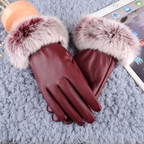 Fashion Women Girl Winter Soft Leather Mitten Gloves Winter Warm Driving Mittens