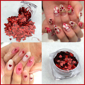 Valentines-Nail-Art-Heart-Shape-Spangles-Glitter-Holographic-Red-Craft