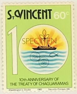 St-Vincent-676-MNH-Specimen-CV-0-50-Treaty-of-Chaguaramas-Ship-Hands