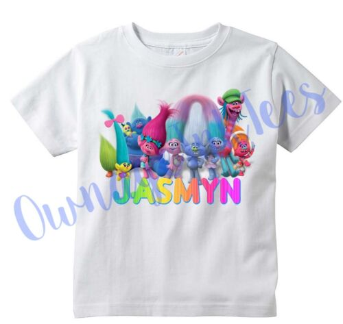Tee Add name Trolls Movie Custom T-shirt PERSONALIZE