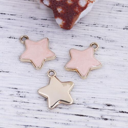 17mm Gold Plated Enamel Pendants C8691-2 5 Or 10PCs Pink Star Charms