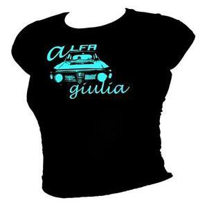 4ab60db737a Alfa Romeo Giulia- blue iconic classic car legend ladies T-shirt all ...