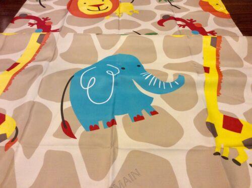 Kids Safari Animals Fabric Shower Curtain Colorful Adorable Elephants Lions NIP