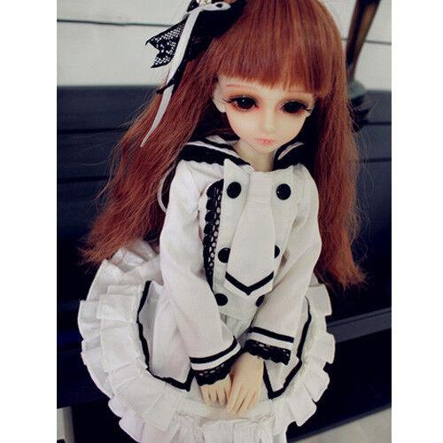 Hot New 1//3 1//4 MSD DOC BJD Clothes Sweet Cos Princess White Dress//Suit 4pcs