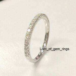Moissanite Wedding Band Anniversary Ring 14k White Gold 1 5mm Round