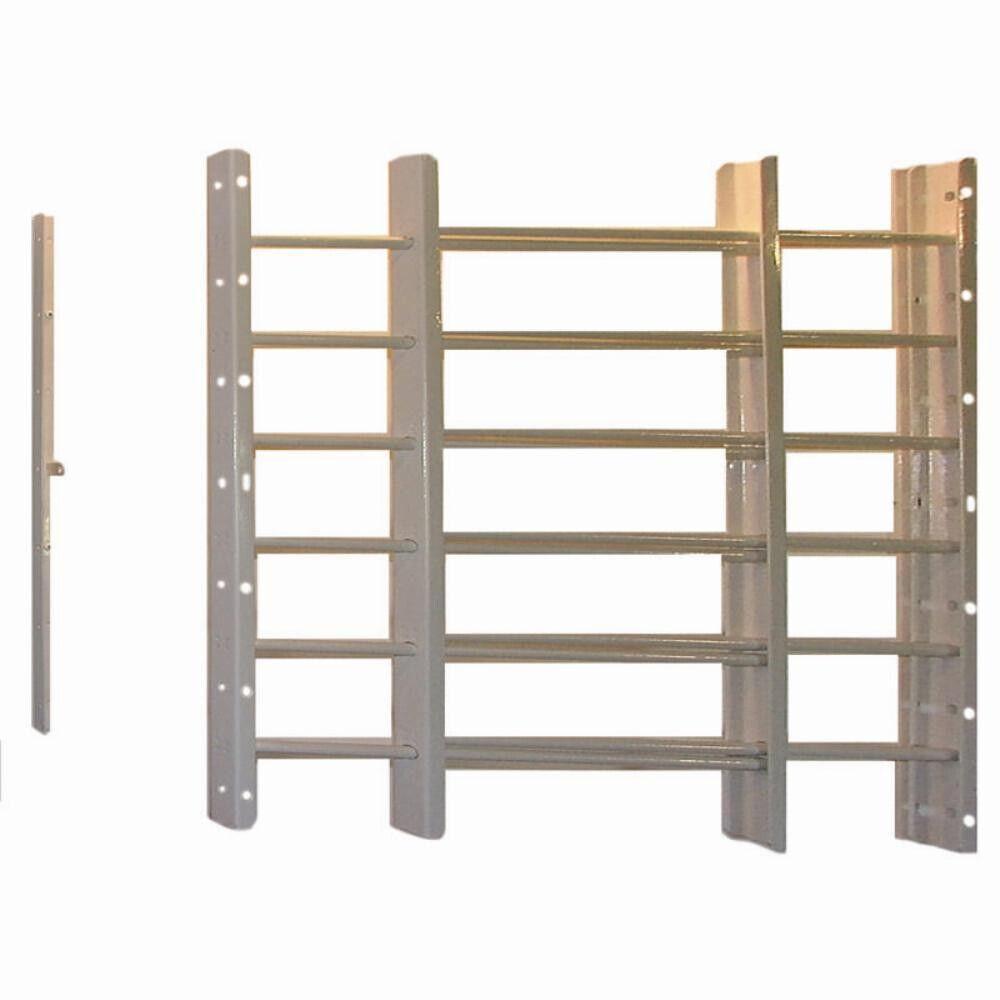 Window Guards White 6-Bars Security Burglar Predective Gates Grills Adjustable