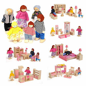 Boy Girl Toy Wooden Furniture Room Set Doll House Family Miniature