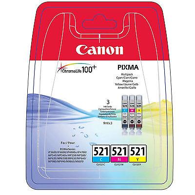 GENUINE ORIGINAL CANON CYAN MAGENTA & YELLOW INK CARTRIDGES MULTI PACK CLI-521