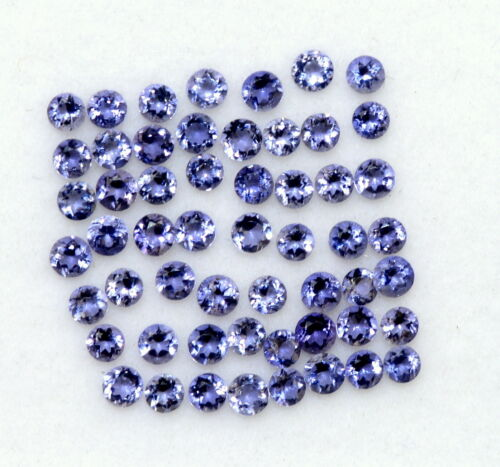 1.99 Cts Natural Iolite Round Cut 2 mm 50 Pcs Lustrous Shade Loose Gemstones
