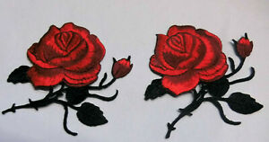 Set-a-2-Stueck-Rose-Rosen-Aufnaeher-Patch-Roses-Applikation-203