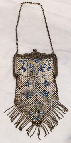 Antique Mandalian 1920's Enameled Metal Mesh Flapp