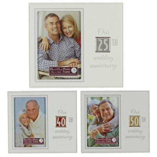 "White Choose Design Wedding Anniversary Photo Frame with Tile 4/""x6/"""