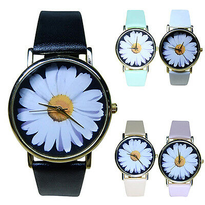 Women's Student's Daisy Wrist Watch Quartz Faux Leather Flower Pattern Funky