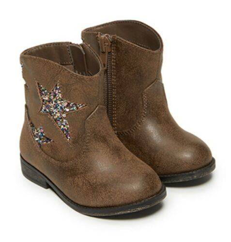 2-6 Garianimals Infant//Toddler Girls Brown Fashion Glitter Cowboy Boots Shoes