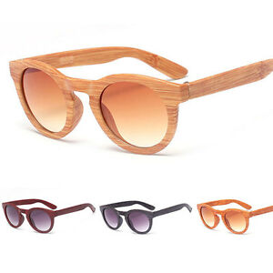 63688f889b Retro Men Women Bamboo Wood Print Round Sunglasses Pilot Eye Glasses ...