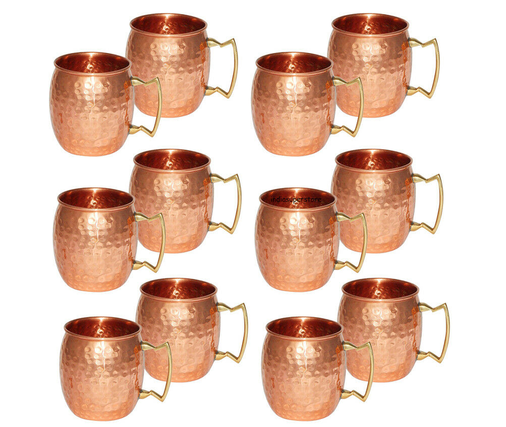 12 Moscow Mule Cuivre mugs Laiton Poignée Main Martelé Cup pour la Bière Boissons
