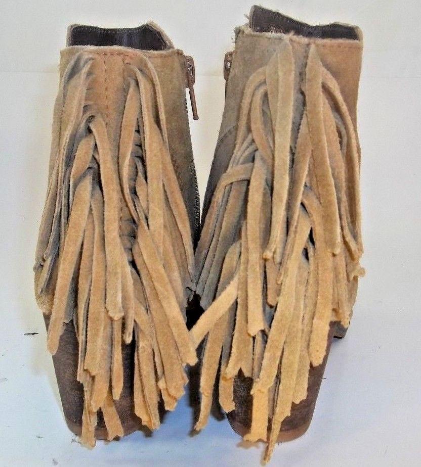 Coconuts Wos Stiefel Ankle Suede Matisse ESPANA US6M Braun Suede Ankle Fringe Zip Heel 4627 1176c6