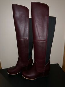 7d0d5a647b6 Sorel Womens Fiona OTK Wedge Boot Rich Wine Black Leather Over The ...