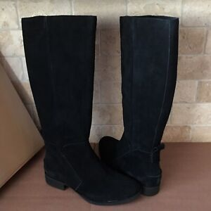 e7b595ccb2b Details about UGG Leigh Black Suede Equestrian Riding Knee High Zip Tall  Boots Size 6.5 Womens