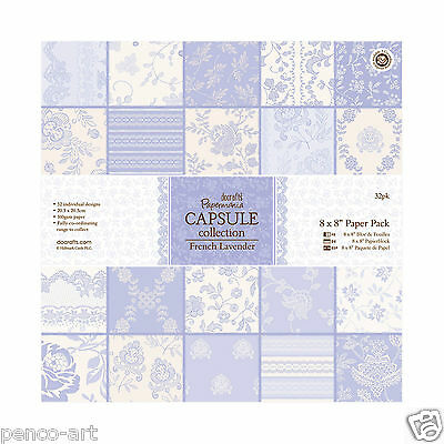 """Papermania 8x8"""" scrapbooking capsule collection 32 sheets paper French Lavender"""