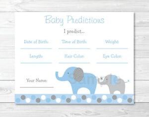 Blue Gray Polka Dot Elephant Baby Shower Baby Predictions Game