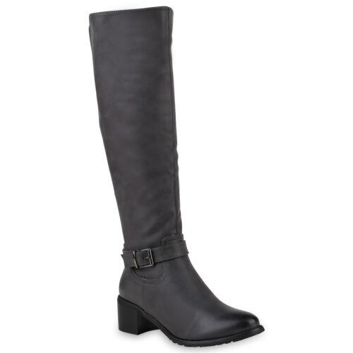 894009 Damen Reiterstiefel Schuhe Leder-Optik Stiefel Mode
