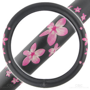 BDK Pink Floral Design SW-515 Anti Slip Grip Steering Wheel Cover