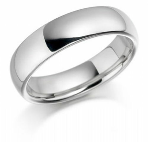 925 Sterling Silver Womens Mens 6mm D Shape Wedding Band Ring