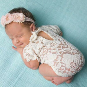 56cf4f621 Image is loading Baby-Photography-Props-Lace-Costume-Newborn-Baby-Romper-