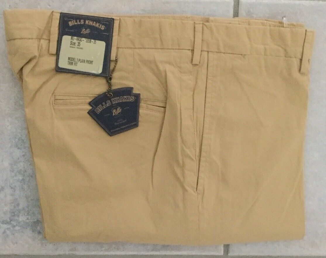 NWT-Bills khakis M3-KKSC Size 33X34 PLAIN TRIM FIT Khaki STRETCH CLOTH