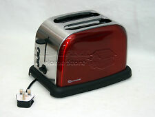 Red 900W 2 Two Slice Wide Slot Toaster Fast Quick Toast Defrost Reheat Function