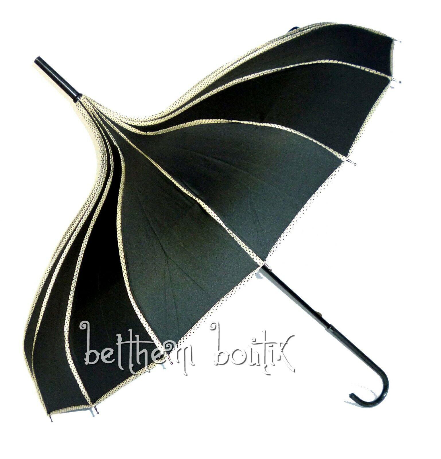 Goth : Parapluie ou Ombrelle Pagode NOIR liserés à Pois Victorien Gothique