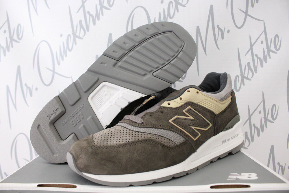 NEW BALANCE 997 SZ 9 MADE IN USA COOL GREY SUEDE TAN KHAKI BROWN M997FGG