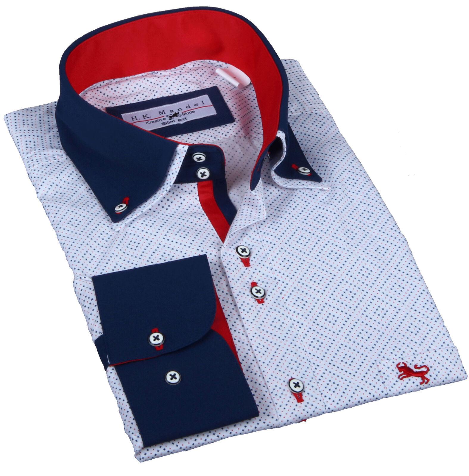 Particolare Camicia Slim Fit Bianco in si con motivo, da Uomo Retro-Vintage Camicia ne...