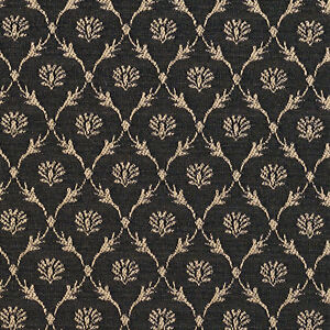 B642 Black, Floral Trellis Woven Jacquard Upholstery Fabric By The Yard