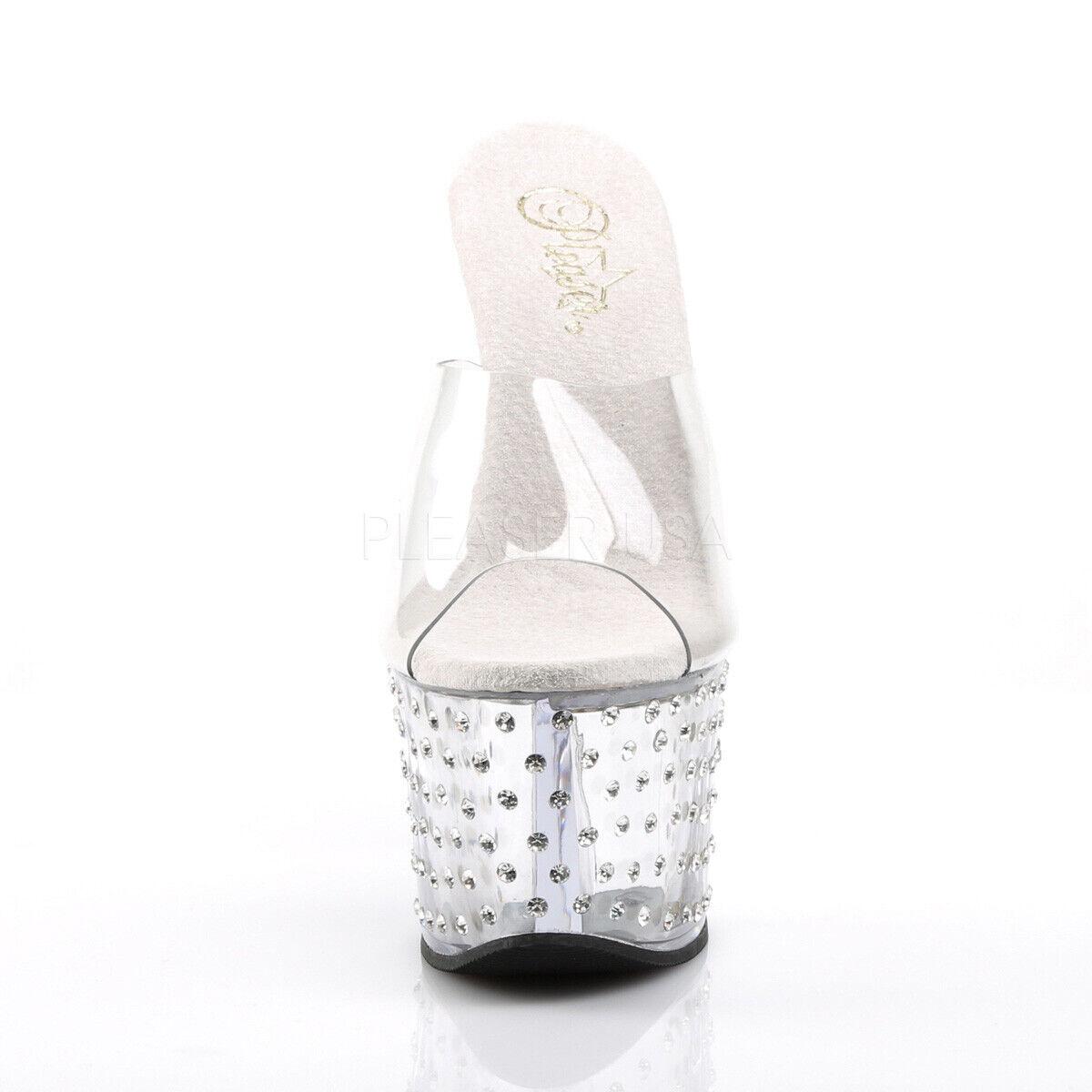 PLEASER Sexy Women's 7  Heel Rhinestone Platform Platform Platform Slip On Clear Stripper shoes 3a4e75