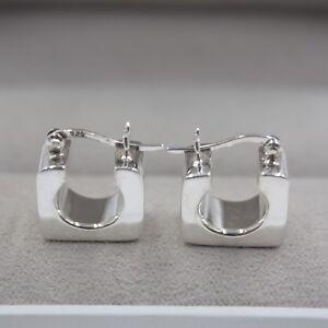 New-Pure-S925-Sterling-Silver-Dangle-Unique-Women-Long-Square-Hoop-Earrings
