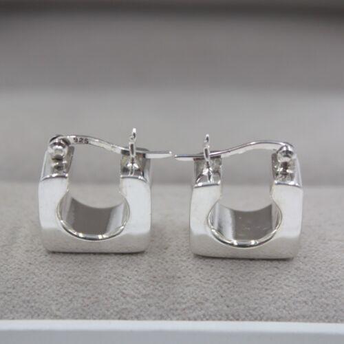 New Pure S925 Sterling Silver Dangle Unique Women Long Square Hoop Earrings