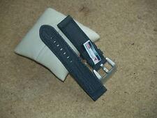 24mm BLACK LEATHER MATTERHORN HEAVY DUTY WATCH STRAP WITH LARGE CHROMO BUCKLE