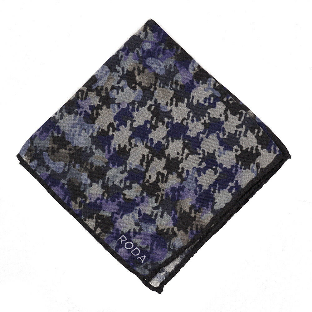 NWT RODA Houndstooth Check and Camouflage Print Wool-Silk Pocket Square