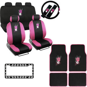 Hawaiian Car Seat Covers >> Details About New Pink Hawaiian Flowers Car Seat Covers Floor Mats Steering Wheel Cover Set