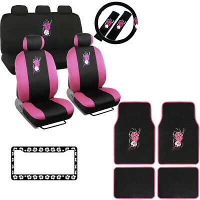 Hawaiian Car Seat Covers >> New Pink Hawaiian Flowers Car Seat Covers Floor Mats Steering Wheel Cover Set Ebay