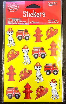 4 Sheets Fire Truck Stickers Party Favors Teacher Supply Birthday Fireman  Dog