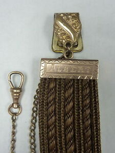 ANTIQUE-1880S-10K-ROSE-G-WOVEN-HAIR-MOURNING-WATCH-FOB-ENGRAVED-I-2440