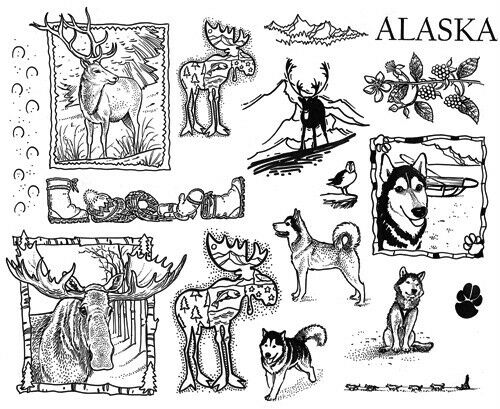Wildlife Elk Alaska Unmounted Rubber Stamp Sheets Scenic Stamps Dogs Moose