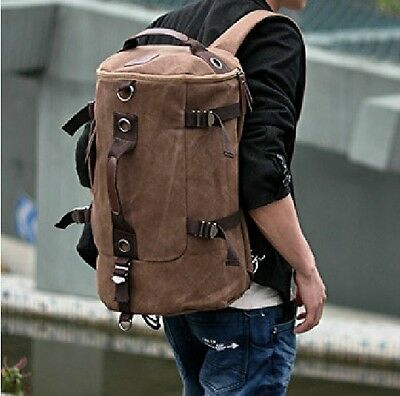Men's Vintage Canvas Backpack Rucksack school bag Satchel Hiking bag B1022