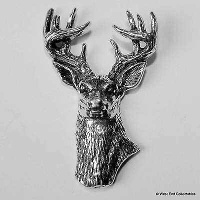 Stag Head Pewter Pin Brooch -British Hand Crafted- Deer Antler Horn Hunting