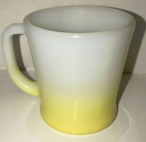 Vintage-Anchor-Hocking-Fire-King-Yellow-And-White-Milk-Glass-Coffee-Mug