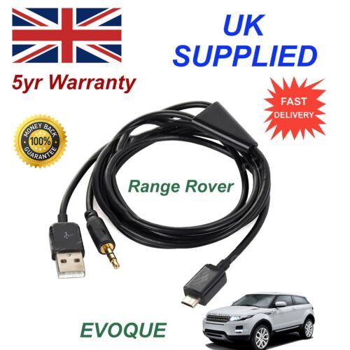 Para Range Rover Evoque Micro USB y AUX Audio Cable Samsung LG Galaxy Sony negro